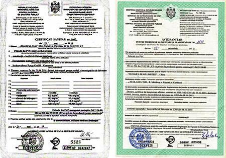 Санитарный сертификат на натяжной потолок в Кишиневе и Молдове