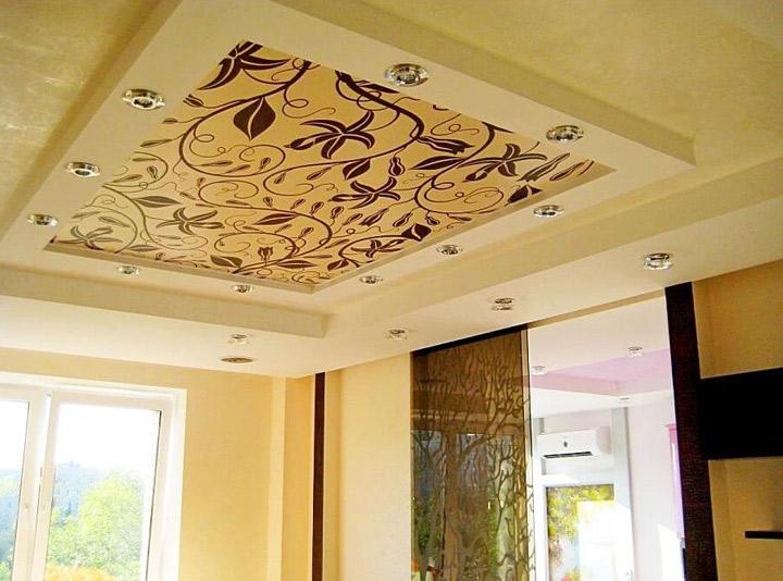 Двухуровневый тканевый потолок